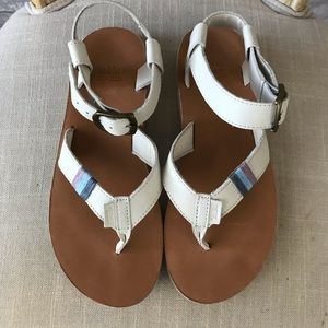 White Teva Sandals with striped trim